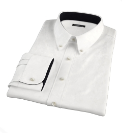 White Wrinkle-Resistant Cavalry Twill Custom Dress Shirt