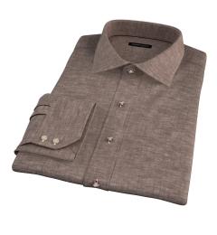 Canclini Brown Linen Men's Dress Shirt