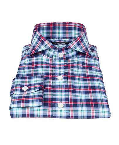 Vincent Blue Red Green Plaid Fitted Dress Shirt