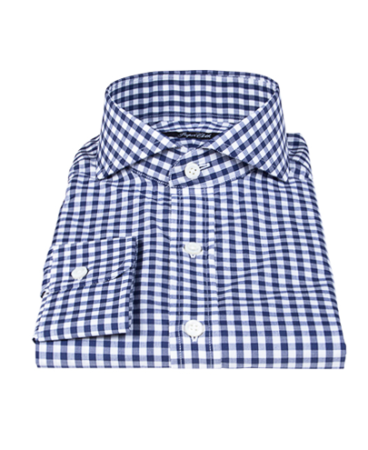 canclini 120s navy gingham men 39 s dress shirt by proper cloth