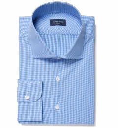Vestry Blue Mini Gingham Fitted Shirt