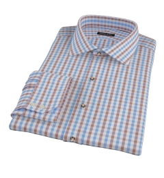 Thomas Mason Blue & Brown Gingham Fitted Shirt