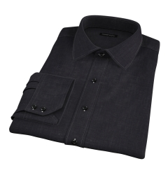 Japanese Black Slub Weave Men's Dress Shirt