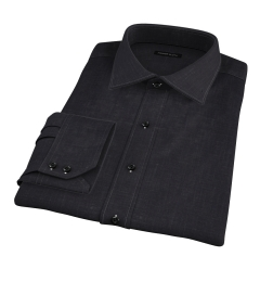 Japanese Black Slub Weave Fitted Dress Shirt
