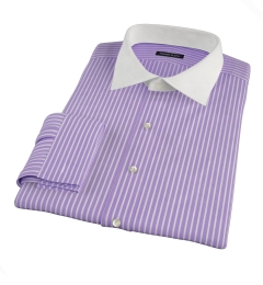Canclini Purple Reverse Bengal Stripe Fitted Dress Shirt
