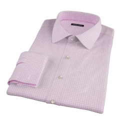 Pink Cotton Linen Gingham Fitted Shirt