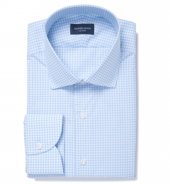 Melrose 120s Light Blue Mini Gingham Fitted Shirt