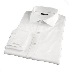 120s White Royal Herringbone Fitted Shirt