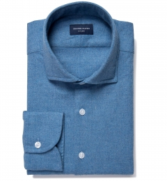 Canclini Ocean Blue Mini Herringbone Flannel Fitted Shirt