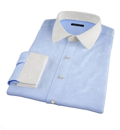 Miles Light Blue 120s Broadcloth Fitted Shirt