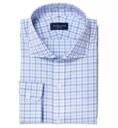 Thomas Mason Blue and Light Blue Grid Custom Made Shirt