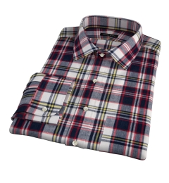 Dorado Navy Plaid Fitted Dress Shirt
