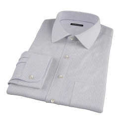 Canclini Grey 120s Mini Gingham Fitted Dress Shirt