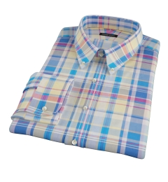 Yellow Blue Red Madras Men's Dress Shirt