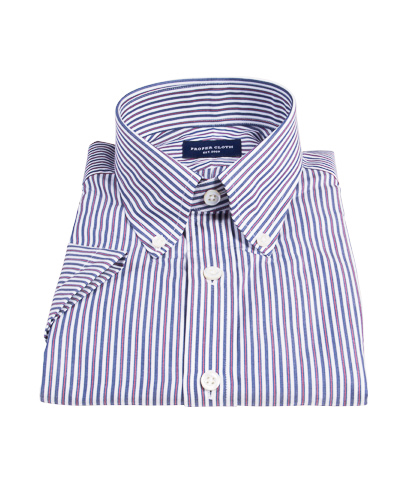 Navy and Red Pinstripe Custom Dress Shirt