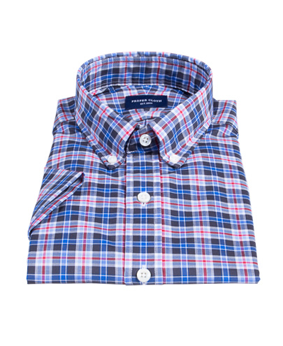 Red and Blue Plaid Fitted Shirt