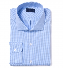 Carmine Light Blue Mini Check Custom Dress Shirt