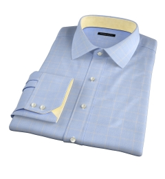 Thomas Mason Blue and Yellow Prince of Wales Check Custom Dress Shirt