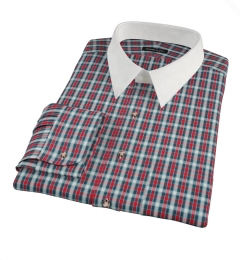 Red and Blue Block Plaid Tailor Made Shirt