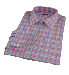 Red Blue Lewis Plaid Flannel Dress Shirt