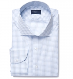 Canclini 140s Light Blue Shadow Check Fitted Dress Shirt