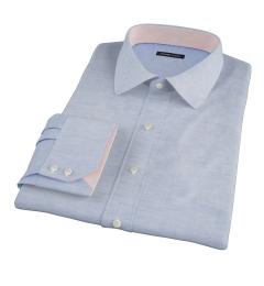 Canclini Blue Cotton Linen Oxford Custom Dress Shirt