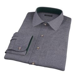 Canclini Charcoal Herringbone Flannel Men's Dress Shirt