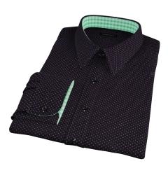 White on Black Printed Pindot Custom Made Shirt