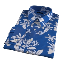 Positano Blue Floral Print Men's Dress Shirt