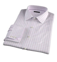 Verona Coral 100s Border Grid Fitted Dress Shirt
