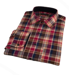 Dorado Orange Plaid Fitted Dress Shirt