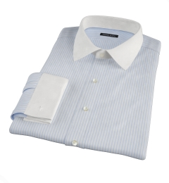 140s Wrinkle Resistant Light Blue Bengal Stripe Men's Dress Shirt