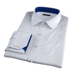 Verona Light Blue 100s Border Grid Fitted Shirt
