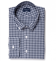Dark Navy Medium Gingham Fitted Shirt