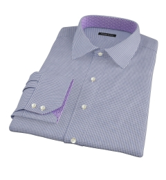 Canclini Royal Blue Mini Gingham Fitted Shirt