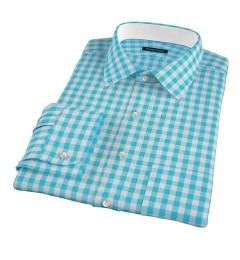 Aqua Large Gingham Fitted Shirt