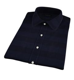 Portuguese Navy Cotton Linen Barre Stripe Short Sleeve Shirt