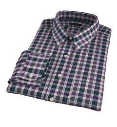 Vincent Pine and Violet Plaid Men's Dress Shirt