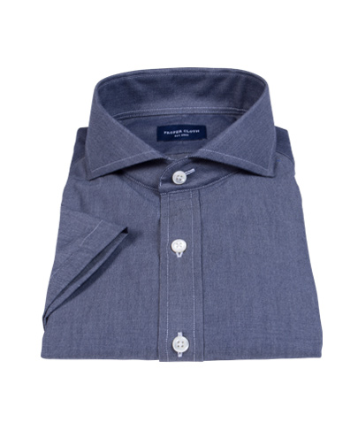 Navy Chambray Short Sleeve Shirt