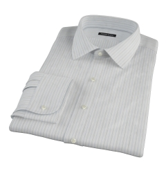 Light Blue Grey Dobby Stripe Fitted Dress Shirt