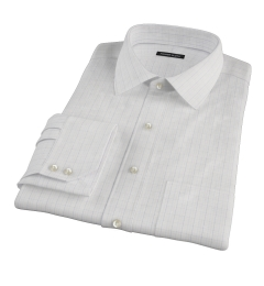 Blue and Tan Check Pinpoint Fitted Shirt