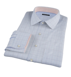 Carmine Sky Blue Prince of Wales Check Tailor Made Shirt