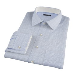 Carmine Sky Blue Prince of Wales Check Custom Dress Shirt
