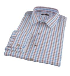 Thomas Mason Blue & Brown Gingham Dress Shirt