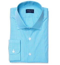 Carmine Aqua Mini Check Custom Made Shirt