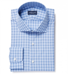 Thomas Mason Goldline Slate Blue Large Check Custom Dress Shirt
