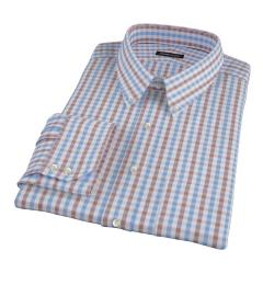Thomas Mason Brown Multi Gingham Dress Shirt