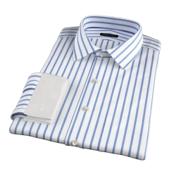 Canclini Slate Blue Wide Stripe Fitted Dress Shirt