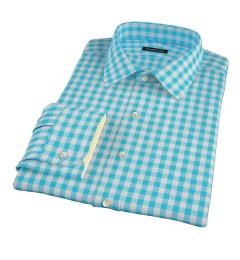 Aqua Large Gingham Custom Dress Shirt