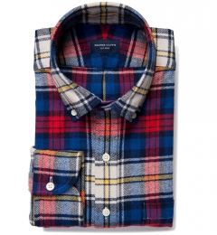 Red and Blue Plaid Country Flannel Custom Dress Shirt